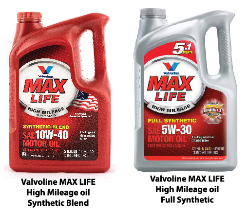 Valvoline MAX life high mileage synthetic blend oil and Valvoline MAX Life high mileage full synthetic oil
