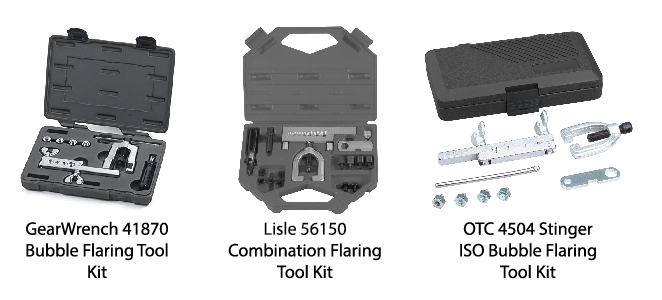 Three brands of brake line flaring tool kits capable of making bubble flare kits. GearWrench 41870 Bubble Flaring Tool Kit, Lisle 56150 Combination Flaring Tool, OTC 4504 Stinger ISO Bubble Flaring Tool Kit