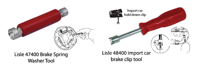Images of brake spring removal tool. Lisle 47400 Brake Spring Washer Tool and Listle 47400 Brake Spring Washer Tool. Use to remove drum brake shoe retaining clips and washsers