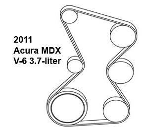 2011 Acura MDX, 3.70 liter, belt diagram