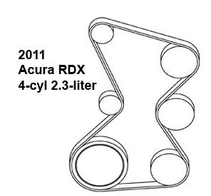 Acura RDX, belt diagram, fan belt diagram, Acura belt diagram, serpentine belt diagram, free diagram