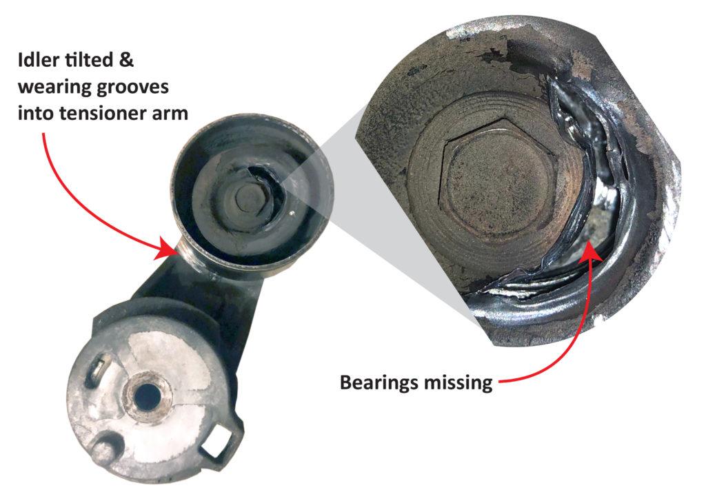 worn serpentine belt tensioner