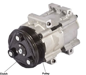 Air conditioning compressor and clutch assembly