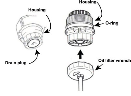 illustration showing how to remove a Toyota oil filter