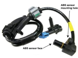 ABS activates at low speeds, ABS wheel speed sensor