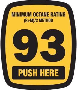 gas pump sticker showing 93 octane