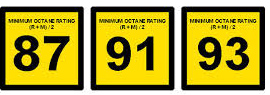 gas pump signage telling the octane rating of each fuel