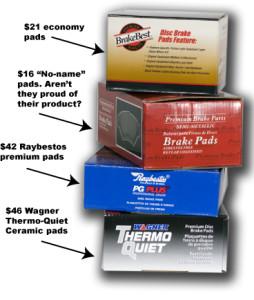 assortment of brake pads
