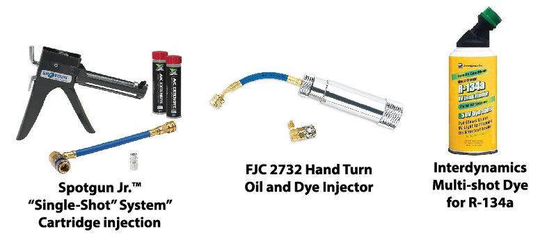 "Images of car AC dye injection tools and productsFJC 2732 Hand Turn Oil and Dye Injector, Spotgun Jr.™ ""Single-Shot"" System, Interdynamics Multi-shot Dye for R-134a"