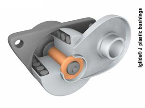 Illustration showing the plastic bushing critical to proper belt tensioner operation