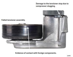 damaged serpentine belt tensioner