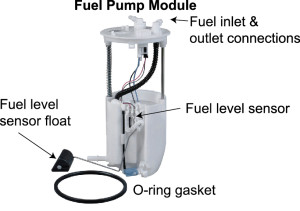 fuel pump module showing the names of each part