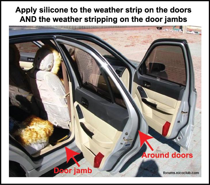 apply lubricant to door weather stripping and door jambs