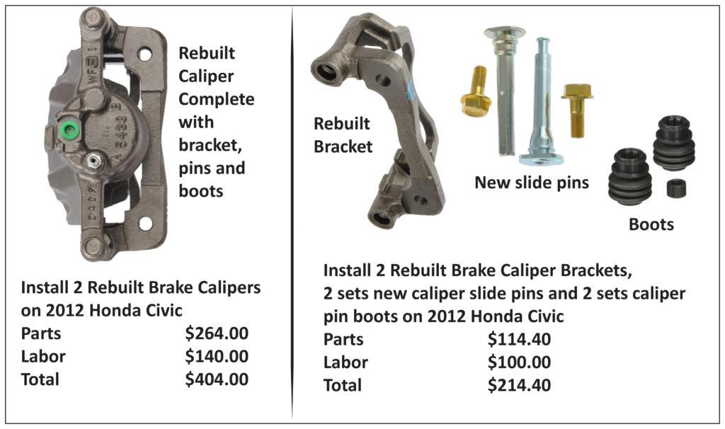 caliper replacement versus rebuilding