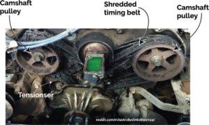 shredded timing belt