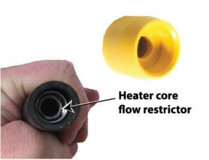 heater core flow restrictor
