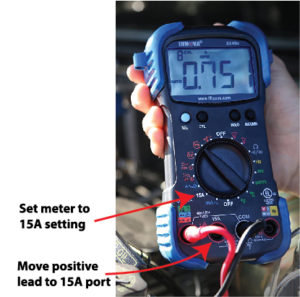 Image of Innova 3340 multimeter set to test alternator diodes