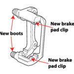 image showing brake caliper braket, brake pad clips and new boots