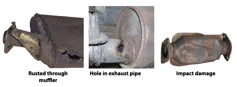 rusted muffler, break in exhaust pipe, damaged catalytic conveter