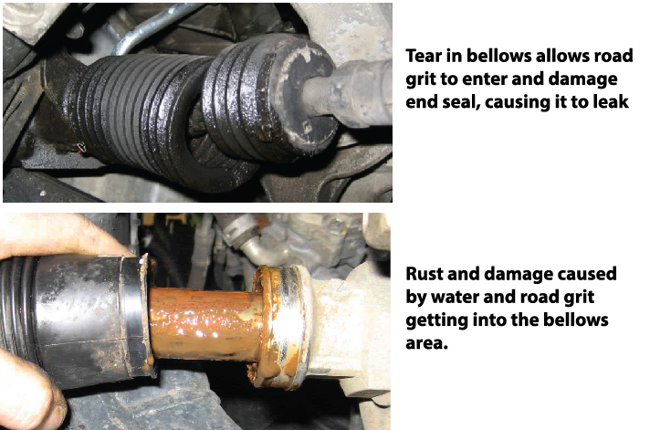 leaking rack and pinion steering gear