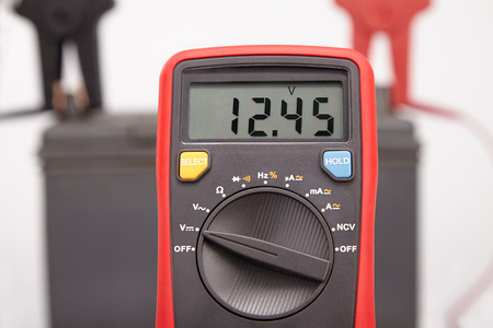 test car battery with meter