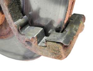 brake hardware abutment clip in brake caliper brakcet