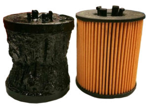 Oil filter filled with sludge