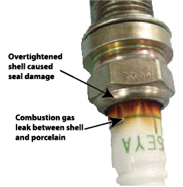 Image showing combustion gas leak on spark plug due to over tightening by not using a torque wrench