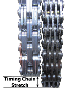 Photo of new timing chain and worn timing chain that has stretched which result in timing chain problems