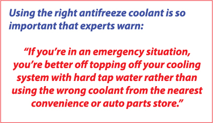 warning about using a universal antifreeze in your car