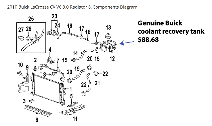 coolant recovery tank cost