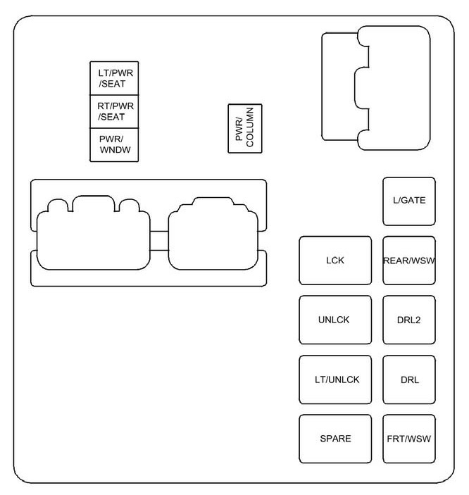 2010 Acadia Fuse Diagram for Top Instrument Panel Fuse Box