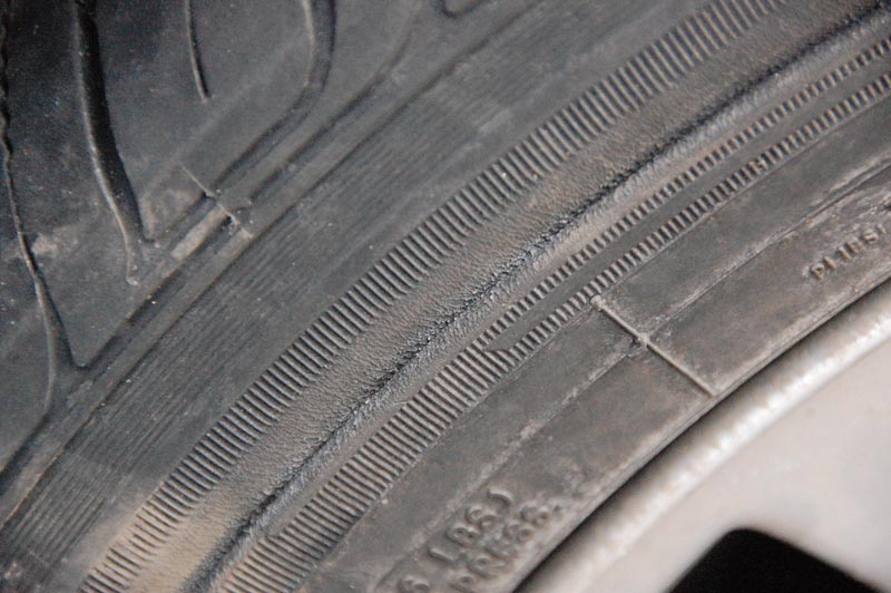 damaged tire sidewall