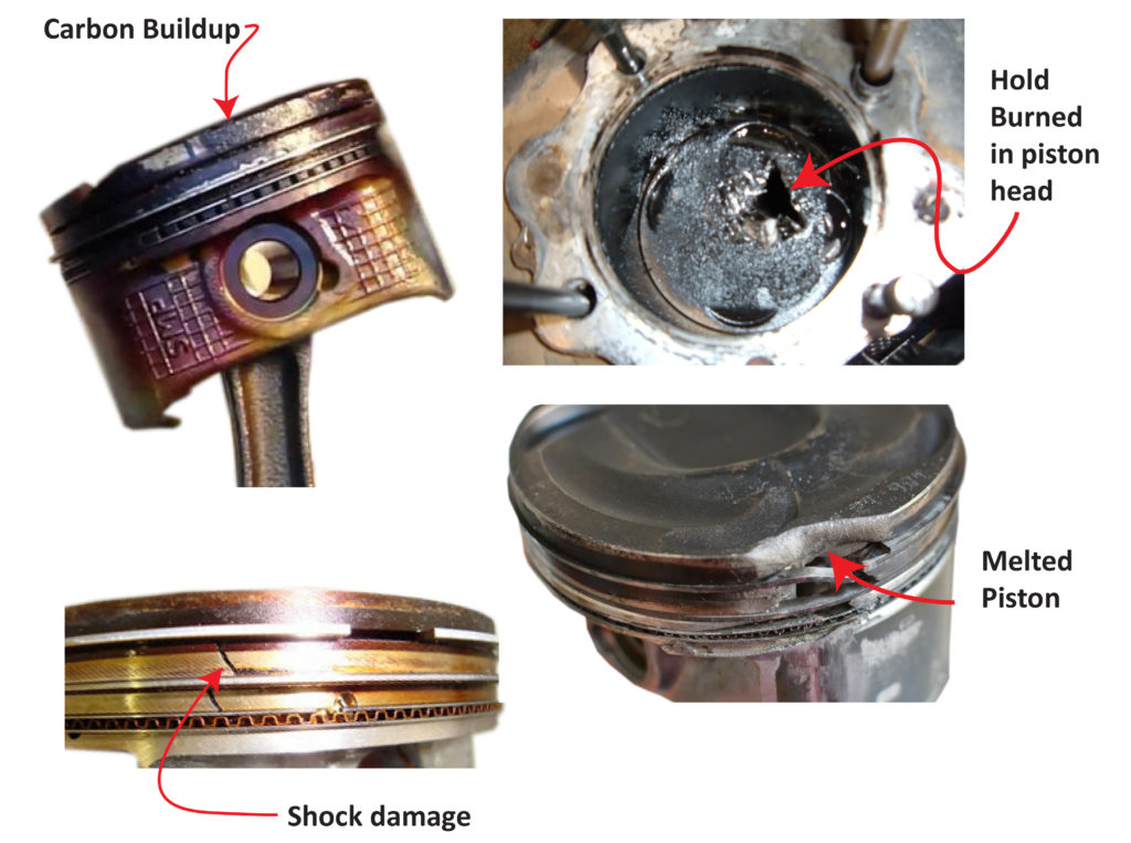 Preignition piston damage