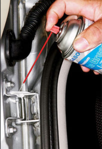 lube car door hinge with white lithium grease