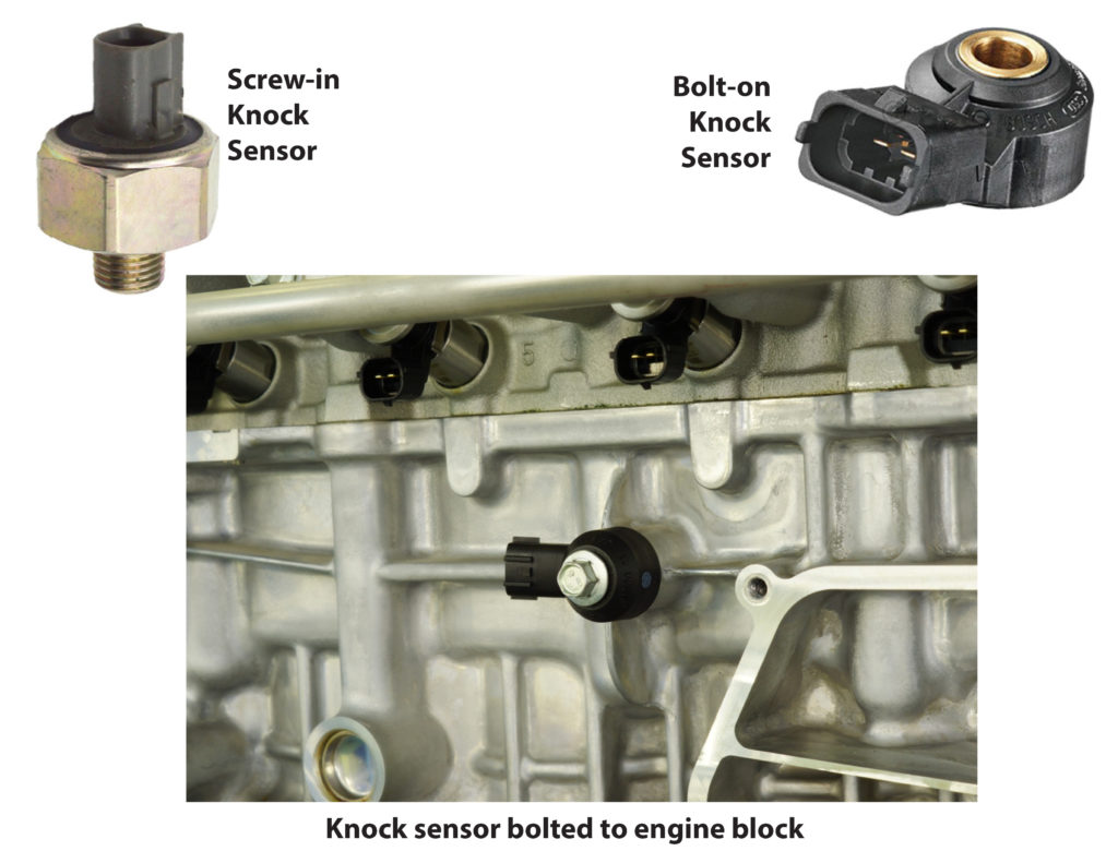 Images of 2 types of knock sensors and where they're located on the engine