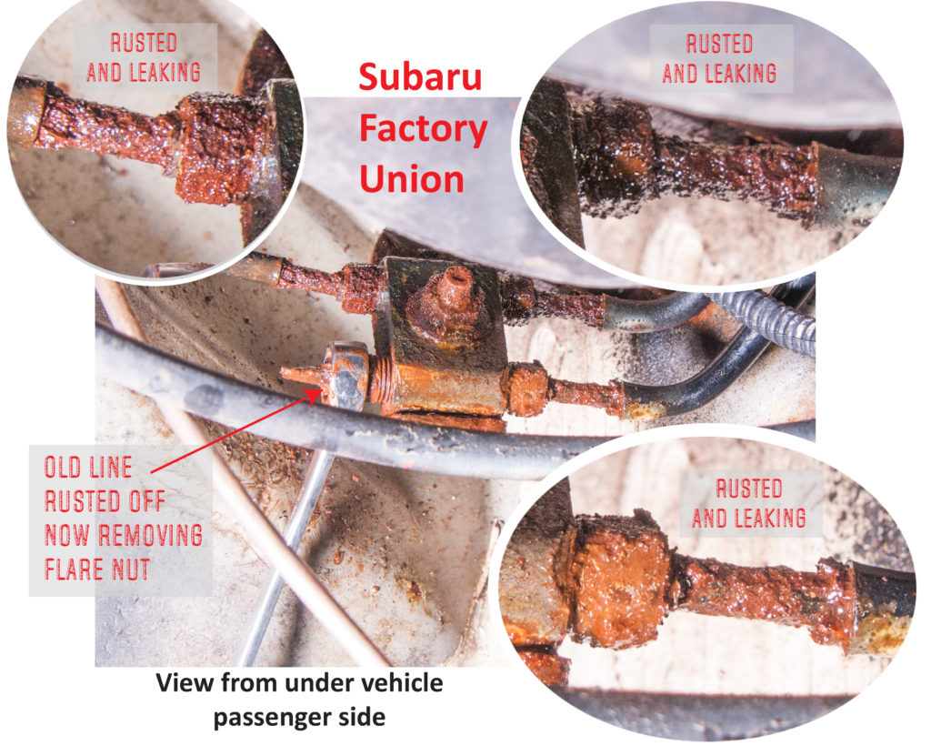 Subaru brake line union rusted brake lines