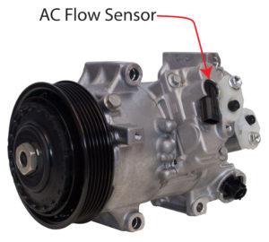 AC flow sensor on compressor