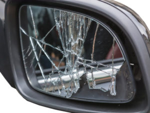 shattered side view mirror glass