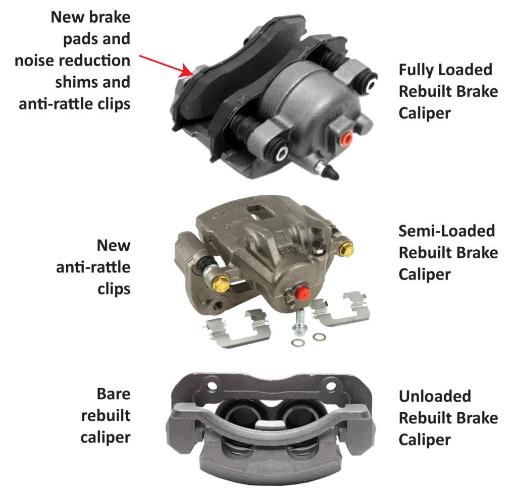 semi-loaded versus fully loaded brake caliper