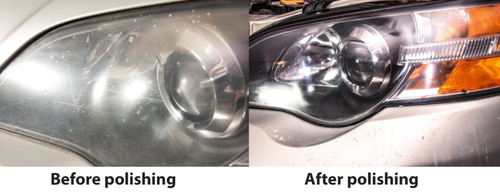 cloudy and polished headlights