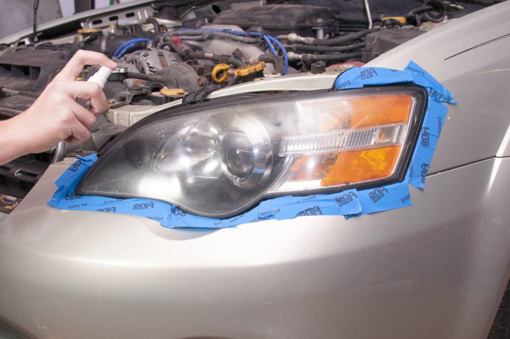 apply headlight activator to headlight to soften clear coat