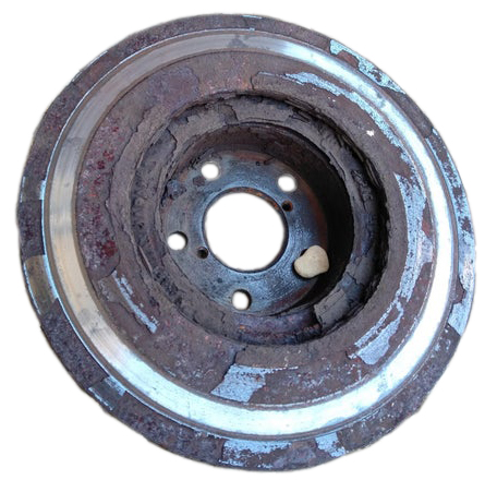 severly corroded brake rotor