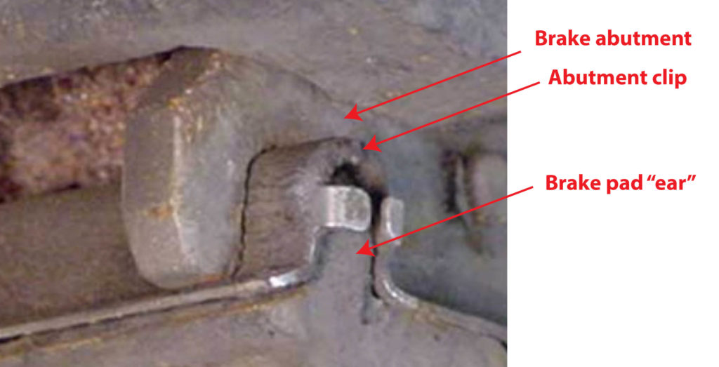 brake clunk due to abutment wear