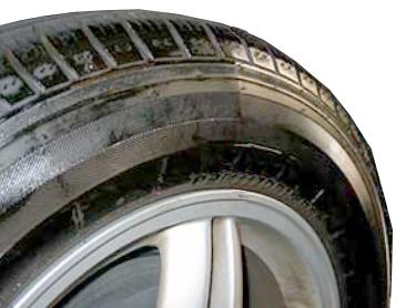 tire sidewall bulge