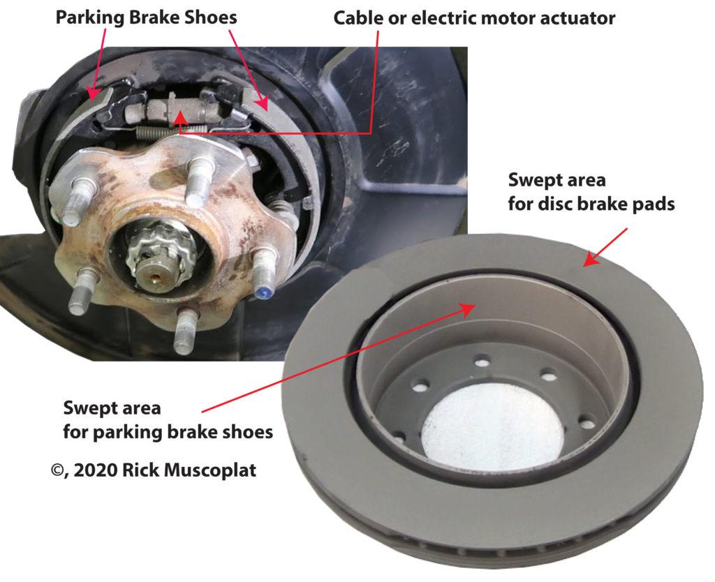 Rear disc brake with parking brake