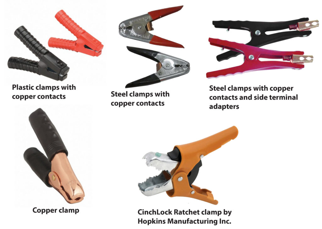 Jumper cable clamp styles