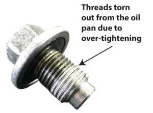 damaged oil pan threads
