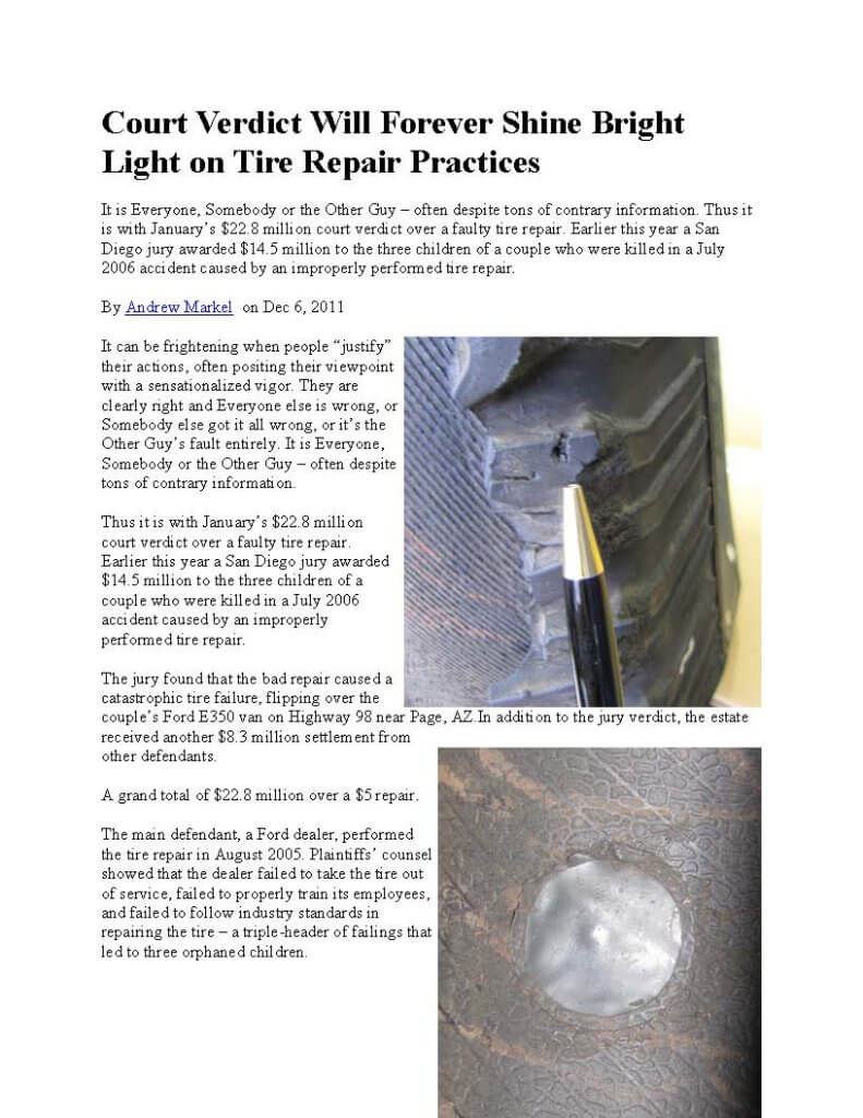 Tire repair lawsuit