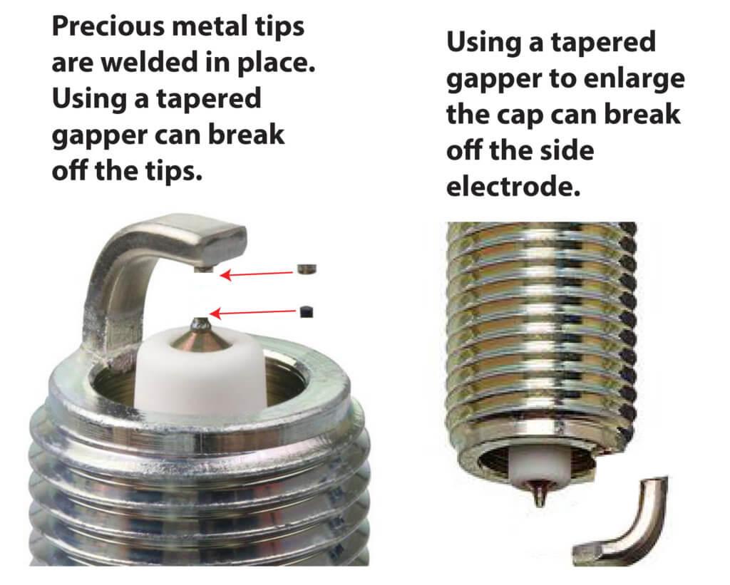 broken spark plug electrodes